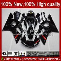 Bodys för Yamaha YZF600 Glänsande svart YZF-600 600cc YZF-R6 YZF R 6 R6 58HC.1 YZF 600 YZFR6 98 99 00 01 02 1998 1999 2000 2001 2002 Fairing