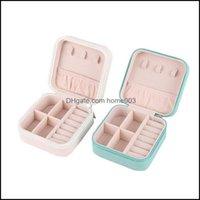 Boxen Verpackung SchmucksachenMtifunktionale Mini Tragbare Aufbewahrungsbox Organizer Ohrring Halter Reißverschluss Frauen Schmuck Display Reisekoffer 100x100x5