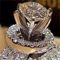 Crystal de luxe Diamond Femme Big Queen Bague Ensemble Mode 925 Silver Bridal Anneaux de mariage pour femmes promet-elle une bague de fiançailles d'amour 22 R2