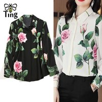 Tingfly Designer Rose Flower Floral Turn Down Collar Button Up Blouses Eleganti Donne Office Work Blusas BlusAS Femme Shirts Plus