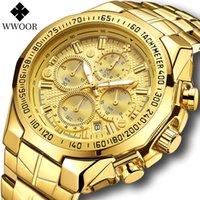 Armbanduhren WWOOR Herren Sport Wasserdichte Uhren Luxus Gold Full Steel Analog Quarz Uhr Männliche Mode Chronograph Armbanduhr Reloj Hombr