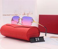 Diseñador de lujo Sport Gafas de sol Amantes Unisex Búfalo Cuerno Glasses Hombres Mujeres Rimless Gafas de sol Plata Marco de metal de oro LUNNETES