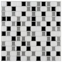 Art3D 30x30cm 3d Wandaufkleber grau-weiße selbstklebende wasserdichte schälen und stickbackplattenfliese für Küche Badezimmer, Tapeten (6 Stück)