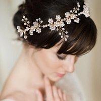 Cosnoble el yapımı peal boncuklu gelin başlıklar düğün kafa kafa parçası gelin şapkalar parti saç takı aksesuarları