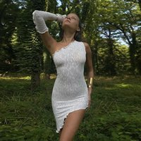 Casual Dresses Autumn Sexy Woman One-shoulder Sleeve Dress Party Backless Mini White Streetwear Clothes For Fashion Woman's Clothing