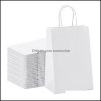 Gift Event Festive Supplies Home & Gardengift Wrap -Kraft Paper Bags 25Pcs 5.9X3.14X8.2 Inches Small White With Handles Shopping Party Bag D