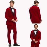 Wedding Groom Men Tuxedos Custom Made Shwal Lapel Red Blazer 2 Piece Set (Pants +Jacket) Marriage Party Gentlemen Suits
