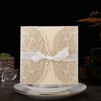 10pcs / lot marfil láser corte elegante invitaciones de boda tarjeta tarjeta de felicitación personalizada con cinta cumpleaños boda festivos de boda