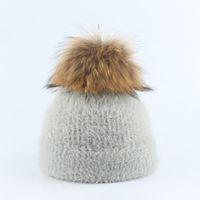 Caps & Hats 2021 Winter For Kids Pompom Fur Knitted Beanie Cap Baby Children Hat Girls Boys Warm Outdoor Ski Bonnet