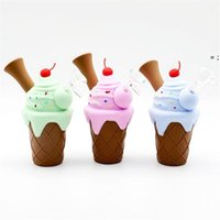 Ice Cream Design Silicon Pipe Handheld 4.3inch bag Size with Quatz Oil Burner Dab for Dry Herb Tobacco Vape slicon pipes HHD7559
