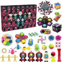 Designer keychain Brand key chain Squid Game Push Bubble Blind Box Antistress Fidget Toys Christmas Advent Countdown Calendar Toy Gift Boxes