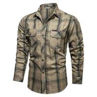 Camisas casuales para hombres 2021 otoño primavera hombres estilo militar 100% algodón impresión de tela escocesa camisa de manga larga macho ejército verde negro azul