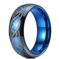 결혼 반지 빈티지 8mm 남자 블루 텅스텐 카바이드 반지 인레이 레이저 셀틱 매듭 약혼 패션 바이킹 남자 밴드