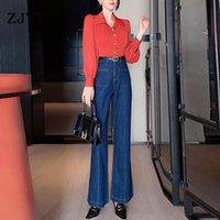 Zarif Bahar Pist Tasarımcılar Kadınlar İki Parçalı Kıyafetler 2021 Yeni Moda Uzun Kollu Bluz ve Geniş Bacak Kot Pantolon Takım Elbise Setleri