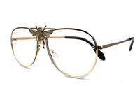 럭셔리 선글라스 작은 꿀벌 선글라스 여성 금속 프레임 빈티지 브랜드 안경 디자이너 패션 남성 여성 음영 케이스