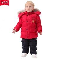 Iyeal روسيا الشتاء ملابس الأطفال مجموعة ل الرضع الأولاد أسفل معطف القطن + بذلة يندبروف تزلج البدلة الاطفال ملابس الطفل 211013