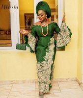 Aso Ebi Caftan Green Evening Dresses Lace Applique Formal African Prom Gowns 2022 Long Sleeves robes de cocktail wear