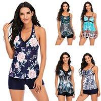 Aonihua Swimsuits para mujer Dos piezas Tankini conjuntos Tummy Control Tops Tops Swimwear Falda Traje de baño T010-T015