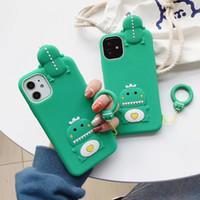 3D niedlicher Cartoon-Dinosaurier-Telefonkasten für iphone 12 pro Max-Mädchen-Silikon-stoßfester Abdeckung für iPhone 12 pro max 11/6/7/8 / plus / x / xr / xs / max