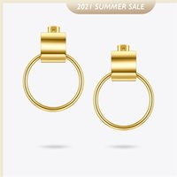 ENFASHION Curved C Shape Circle Drop Earrings For Women Gold Color Stainless Steel Earings Fashion Jewelry Brincos E201179 210624