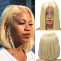 Brazilian blonde Straight Wig Bob gluleless Short 4x4 human hair middle part 613 wig and front net women's Remy