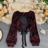 Sexy Hollow Out Sequin Blouse Women O-Neck Open Back Bandage Tops Elegant Black Red Bling Club Party Shirt Autumn Fashion 210312