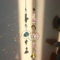 Decoraciones de jardín Crystal Star Star Moon Prisms Colgante Colgante Rainbow Chaser Sun Iluminación Prism Ornament Wind Chimes Decoración del hogar