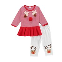 Christmas Baby Girls Outfits Newborn Clothing Sets Infant Clothes Long Sleeve Striped Top Dress Trousers Pants 2Pcs B8472