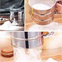 Copa de harina de acero inoxidable Taza de polvo Tamiz de malla Gadget de cocina para pasteles de azúcar de azúcar con pantalla manual Malla para hornear