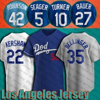 27 Trevor Bauer Mookie Betts Jersey Cody Bellinger Clayton Kershaw Jerseys Justin Turner Corey Seager A.J. Pollock Jersey Jackie Robinson.
