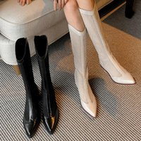 Dress Shoes Mesh Hollow Out Boots Pointed Net Women's Versatile Thick Heel High Tube Middle Western Cool Women In