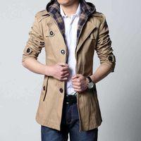 Men's Trench Coats 2021 Spring And Autumn Windbreaker Medium Length Hooded