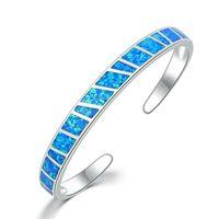 Bangle 2021 Fashion White & Blue Opal Stone Opening Adjustable Minimalist Bracelets Jewelry Gifts For Girl Women