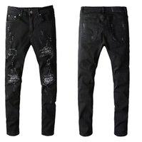 Großhandel Neue Löcher Jeans Männer Biker Skinny Jeans Stilvolle Beliebte Löcher Motorrad Jeans Denim Hosen Hosen Cool