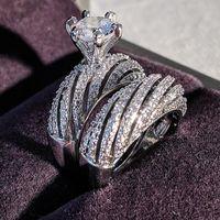 Marca cupê anéis elegante jóias vintage 925 prata esterlina rodada corte branco topázio mulheres noivado casamento anel nupcial conjunto presente