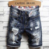 Homens únicos rasgados denim shorts vintage designer de moda homens lavados jeans jeans verão hip hop calças curtas calças curtas 787