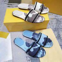 2021 Sandalet Çok Renkli Tuval Çizgili Sandalet Denim Düz Slipprs Ayakkabı Bayanlar Yaz Açık Plaj Nedensel Çevirme Luxurys Gri Çiçek Tasarımcısı Kutusu Büyük Boy 42