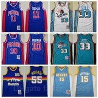 Hommes Basketball Mitchell and Ness Grant Jersey Jersey Retro 33 Isiah Thomas 11 Dennis Rodman 10 Dikembe Mutombo 55 Carmelo Anthony 15 Vintage