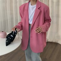Women's Wool & Blends Female blazer light pink, long sleeve jacket with loose buttons for autumn QTO5