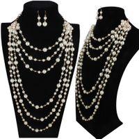 Neue Temperament-einfache Mode europäische und amerikanische Art Luxus mehrschichtige Nachahmung Perlenkette Pulloverkette