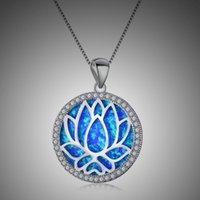 Pendentif Colliers Bohemia Blue Opal Raskink pour Femmes Charme Géométrique Rond Lotus Collier Fleur Chaîne Femme Bijoux