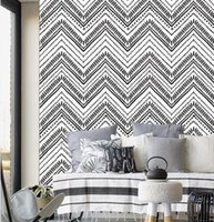 Wallpaper 17.7 inch*236.2 inch Self-Adhesive Removable Wood Peel and Stick Decorative Wall Covering Vintage Panel Interior Film Retro Geometric wavy pattern