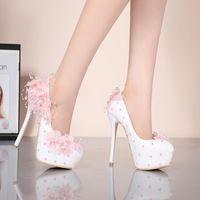 Dress Shoes YIHONGMEIQI Waterproof Platform High Heels Wedding Lace Flower 14 Cm Stiletto Bride's White Pink Size 42