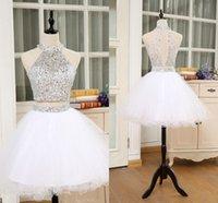 2021 Classique Blanc Bal Homecoming Robes de Halter Courte Halter Top Cristal Perlé Deuxième Pièce Robe de graduation Filles Soirée Junio Junio