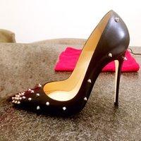 Mode Noir Matte Shoes Femmes Pumps Casual Noir Cuir avec Sliver Spikes Point Toe Stiletto High Talons Haute Chaussures Mince Chaussures Sandals 12cm 10cm 8cm Grand Taille