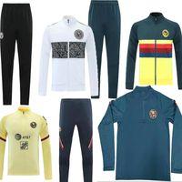 2021 Mexique LIGA MX Club America Giovani Tracksuit Soccer Veste costume C.blanco Full Zipper Football Club Sportswear Ensembles de l'entraînement 21 22