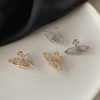 European and American earrings stud saturn ball-earrings simple fashion planet jewelry flashing diamonds saturn-diamond earring for women
