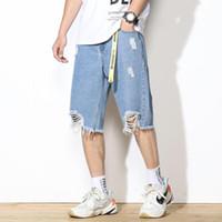 Мужские джинсы дыр Джинсовые брюки синий повседневный тонкий свободные прямые шорты тренда лето пятисточковые плюс размер