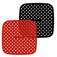 Air Fritador Esteira de Silicone (7.5 / 8 / 8.5 / 9 polegadas) Reversível Silicone não-Stick Mats Vermelho Black Baking Esteira Alimentação Silicone Reutilizável LLA827