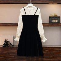 Casual Dresses Sifafos Frauenkleid Faux Zwei PCs Anzüge Herbst Spring Langarm Vestido de Mujer und Plus Größe Vestidos